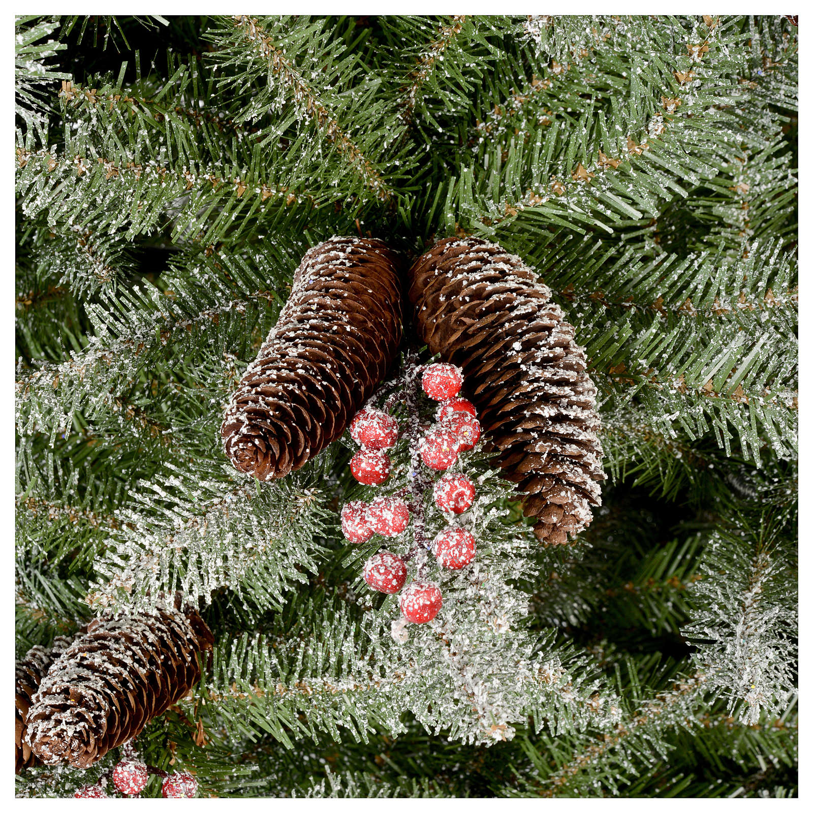 Slim Christmas tree 210 cm, Dunhill flocked with pine cones and berries 3