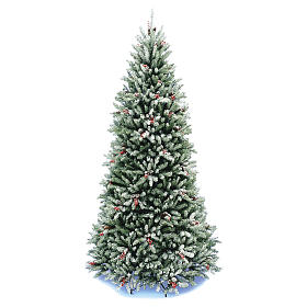 Slim Christmas tree 210 cm, Dunhill flocked with pine cones and berries s1