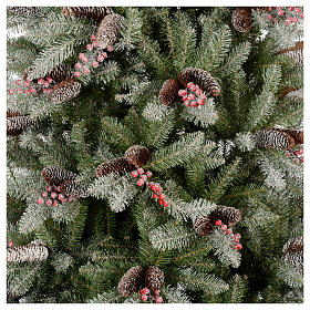 Slim Christmas tree 210 cm, Dunhill flocked with pine cones and berries s2