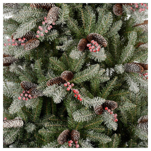 Slim Christmas tree 210 cm, Dunhill flocked with pine cones and berries 2