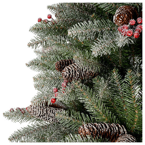 Slim Christmas tree 210 cm, Dunhill flocked with pine cones and berries 4