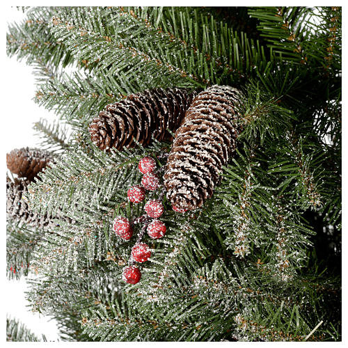 Slim Christmas tree 210 cm, Dunhill flocked with pine cones and berries 5