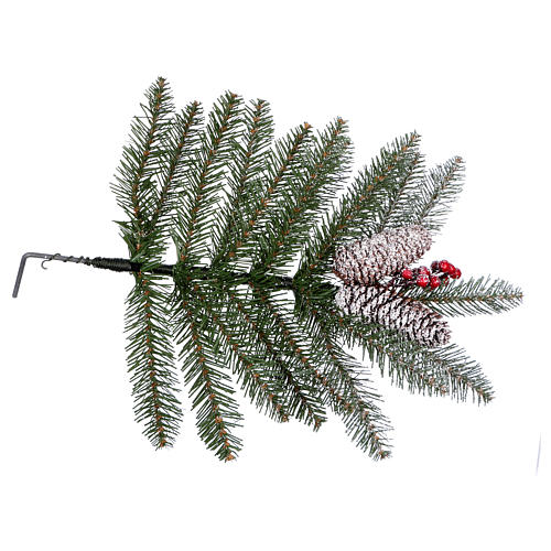 Slim Christmas tree 210 cm, Dunhill flocked with pine cones and berries 6