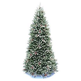 Sapin de Noël 210 cm Slim neige baies pommes pin Dunhill s1
