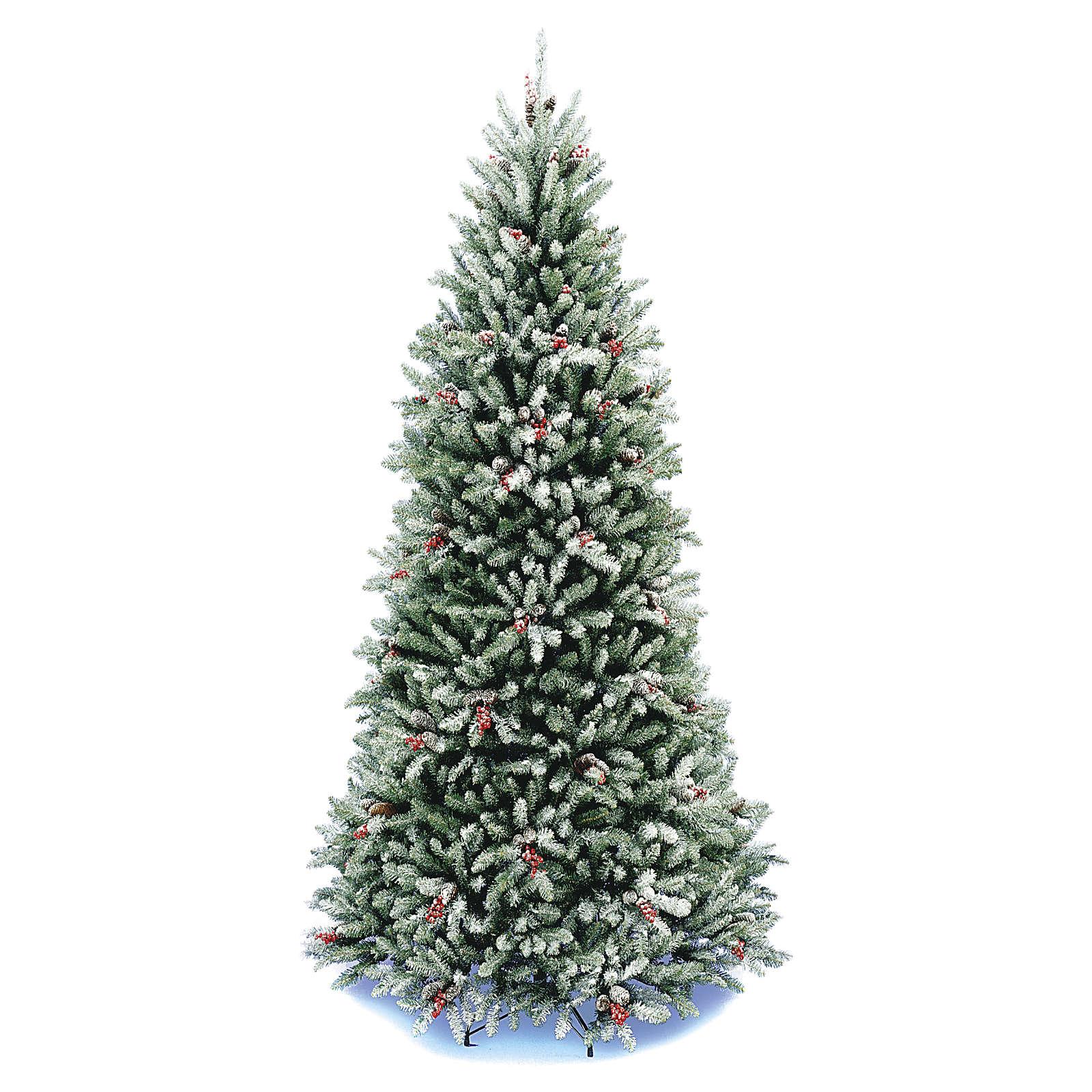 Albero Di Natale Slim 210.Albero Di Natale 210 Cm Slim Neve Floccato Bacche Pigne Dunhill
