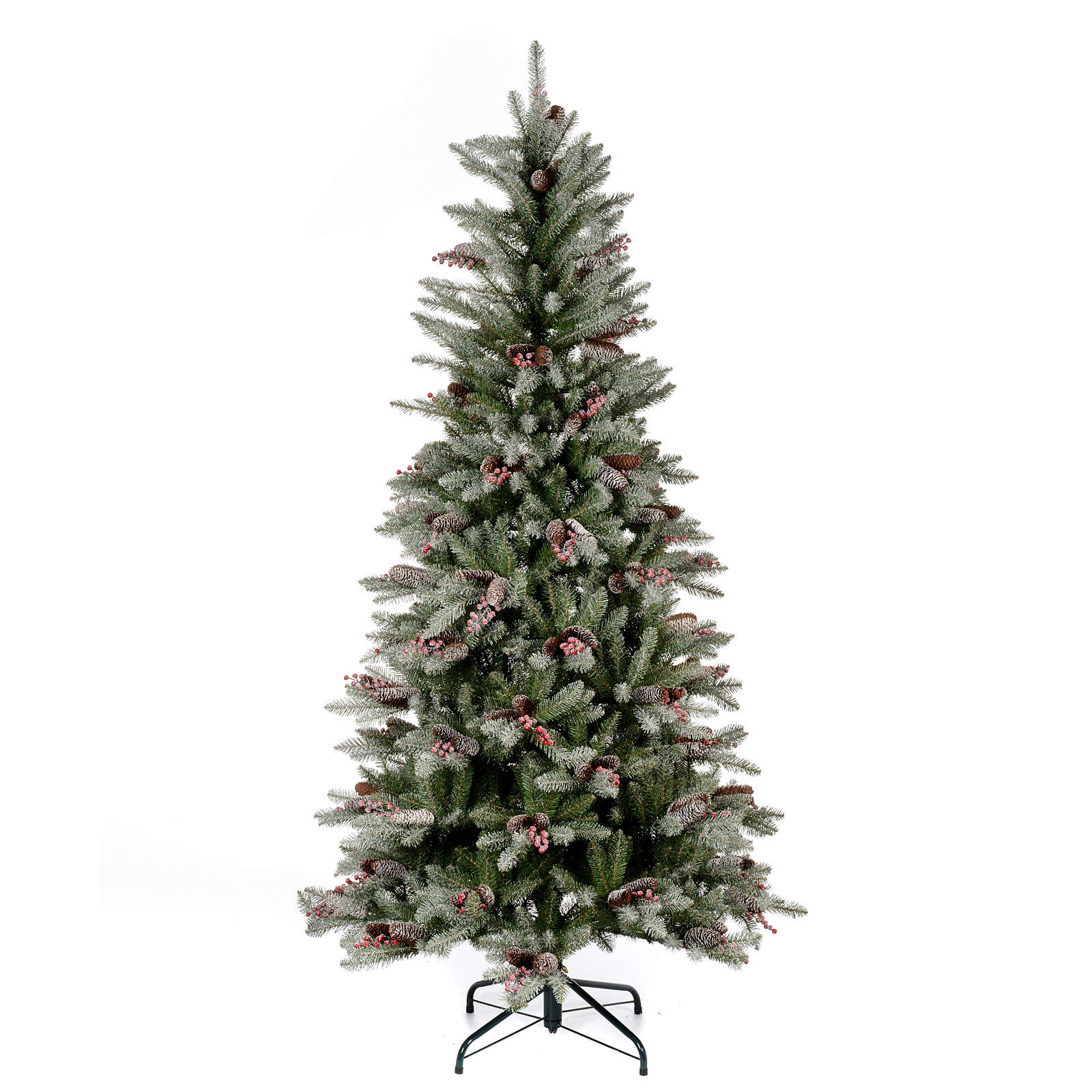 Christmas Tree With Pine Cones And Berries: Slim Christmas Tree 210 Cm, Flocked Dunhill With Pine
