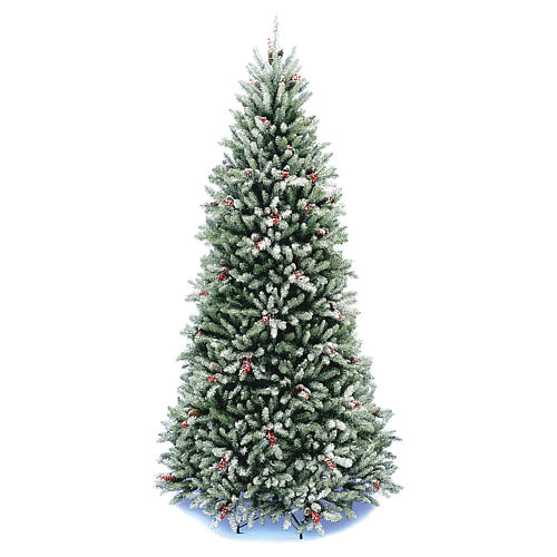 Slim Christmas tree 240 cm, Dunhill flocked with pine cones and berries 1