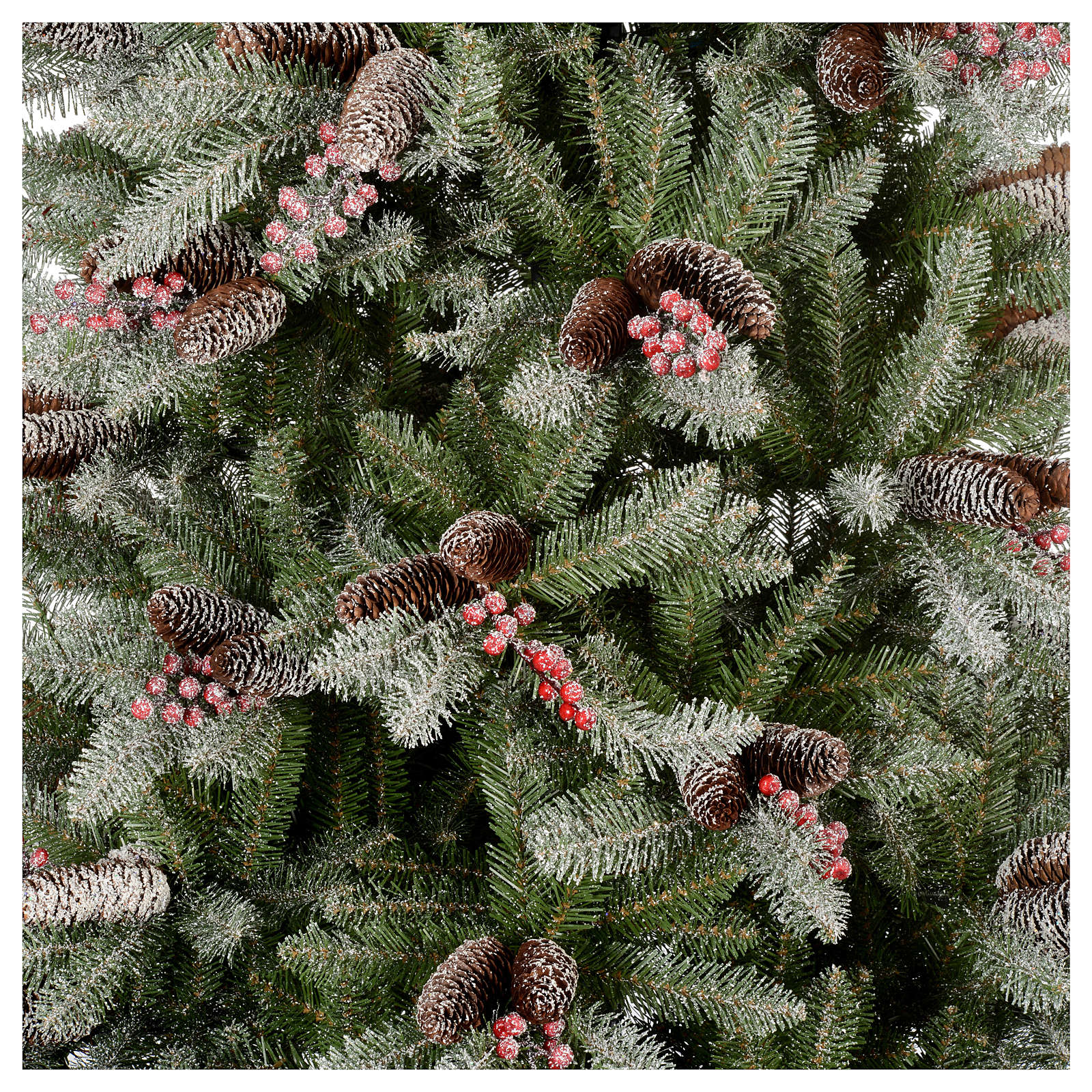 Albero Di Natale 240 Cm Slim Con Neve Floccato Bacche Pigne Dunhill