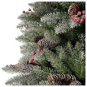 Albero di Natale 240 cm Slim con neve floccato bacche pigne Dunhill s4