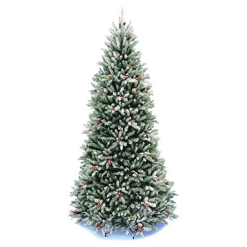 Albero di Natale 240 cm Slim con neve floccato bacche pigne Dunhill 1
