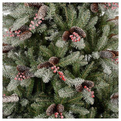 Albero di Natale 240 cm Slim con neve floccato bacche pigne Dunhill 2