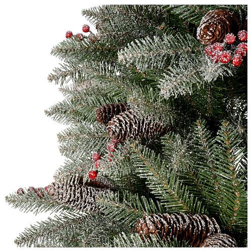 Albero di Natale 240 cm Slim con neve floccato bacche pigne Dunhill 4