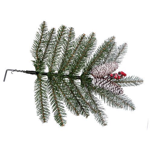 Albero di Natale 240 cm Slim con neve floccato bacche pigne Dunhill 6