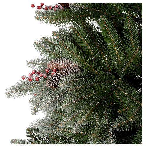 Albero di Natale 180 cm floccato pigne bacche Dunhill 2