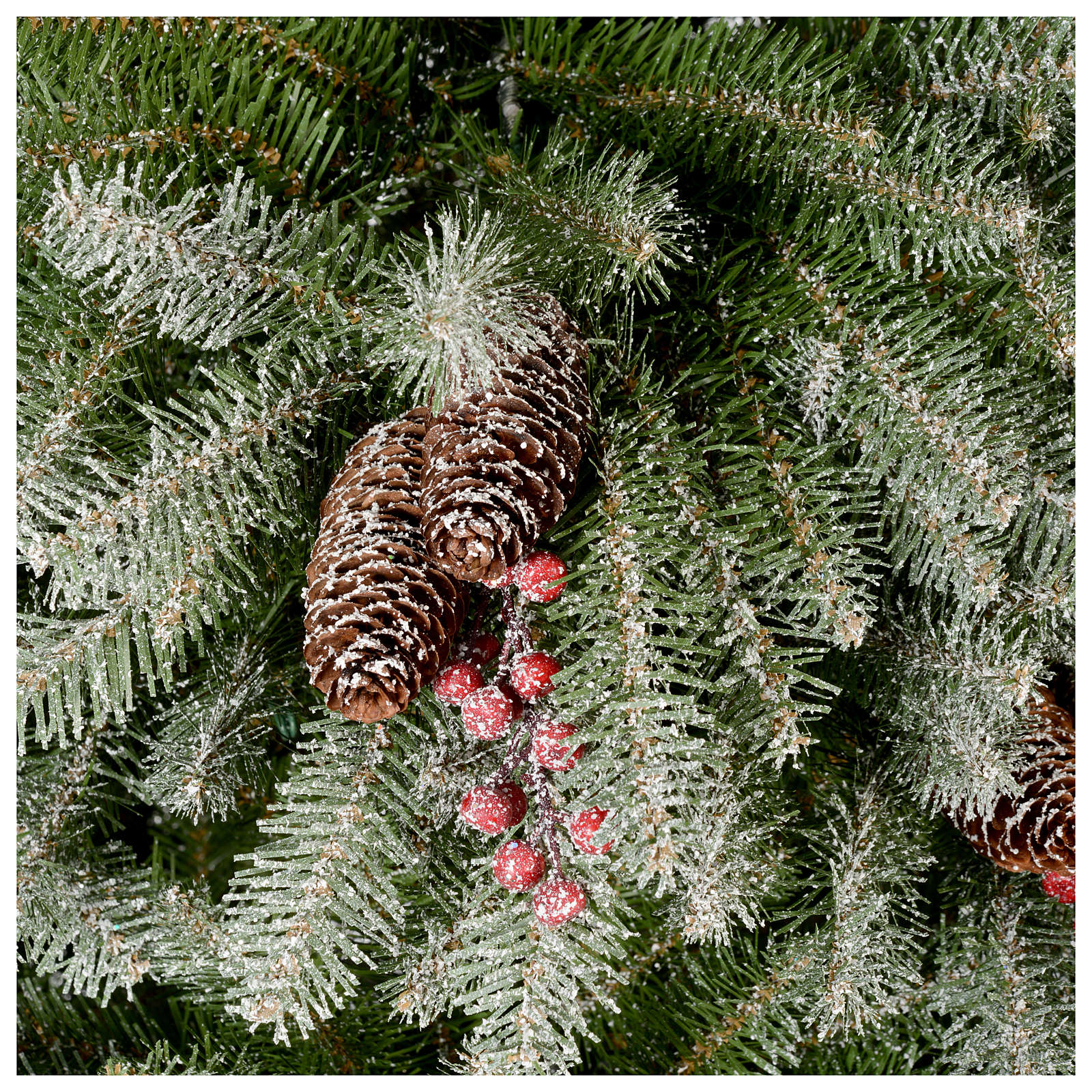 Christmas Tree With Pine Cones And Berries: Christmas Tree 180 Cm, Flocked Dunhil With Pine Cones And