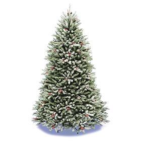 Albero di Natale 210 cm floccato pigne bacche modello Dunhill s1