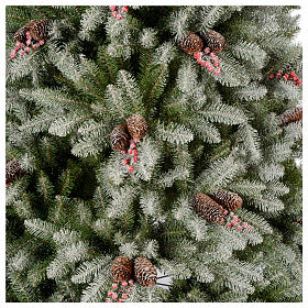Albero di Natale 210 cm floccato pigne bacche modello Dunhill s3