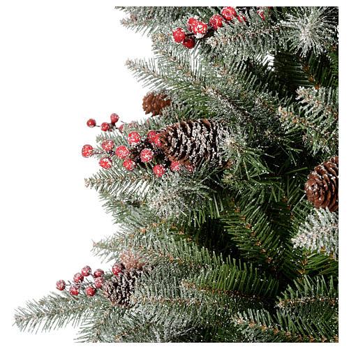 Albero di Natale 210 cm floccato pigne bacche modello Dunhill 2