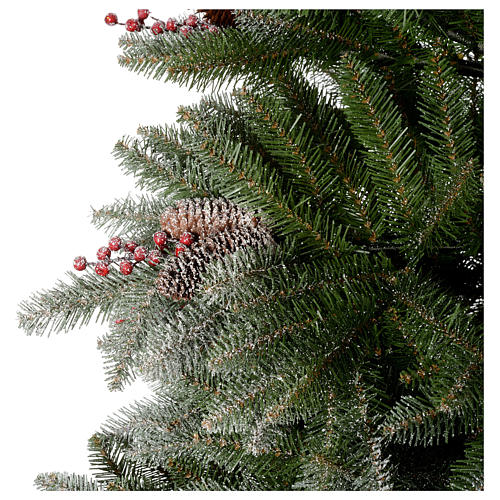 Albero di Natale 210 cm floccato pigne bacche modello Dunhill 5