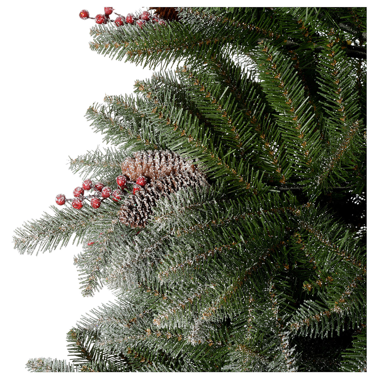 Christmas Tree With Pine Cones And Berries: Christmas Tree 210 Cm, Flocked Dunhil With Pine Cones And