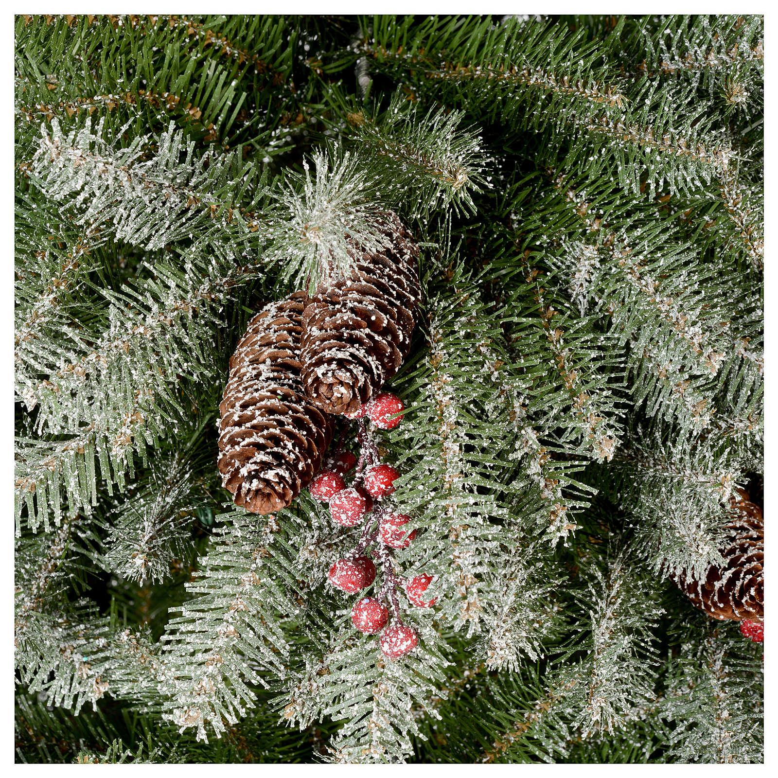 Albero di Natale 240 cm floccato pigne e bacche mod. Dunhill 3