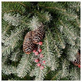 Albero di Natale 240 cm floccato pigne e bacche mod. Dunhill s4