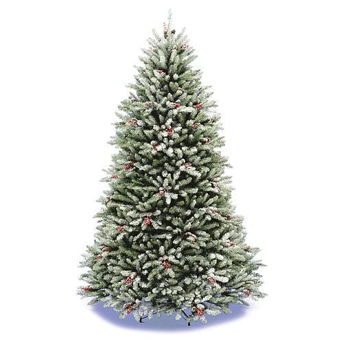 Albero di Natale 240 cm floccato pigne e bacche mod. Dunhill 1