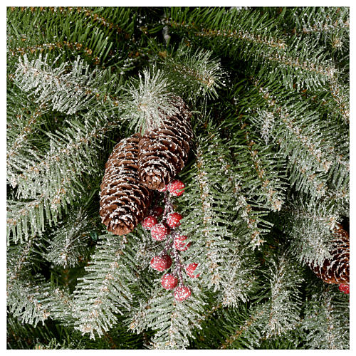 Albero di Natale 240 cm floccato pigne e bacche mod. Dunhill 4