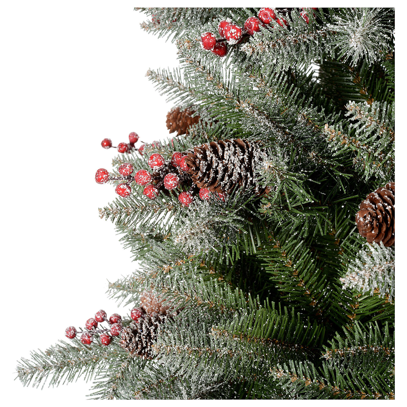 christmas tree 240 cm dunhil flocked with pine cones and berries 3 - Christmas Tree With Pine Cones