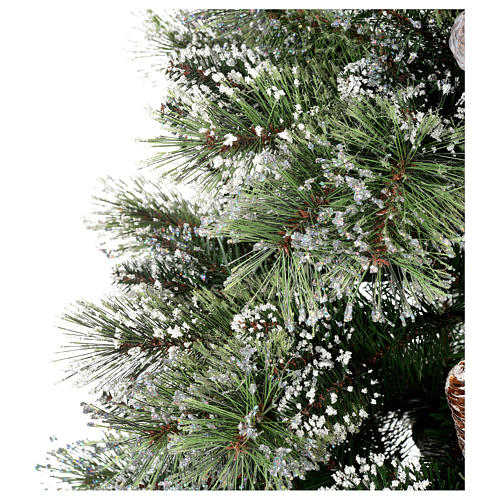 Albero di Natale 210 cm verde con pigne Glittery Bristle 5