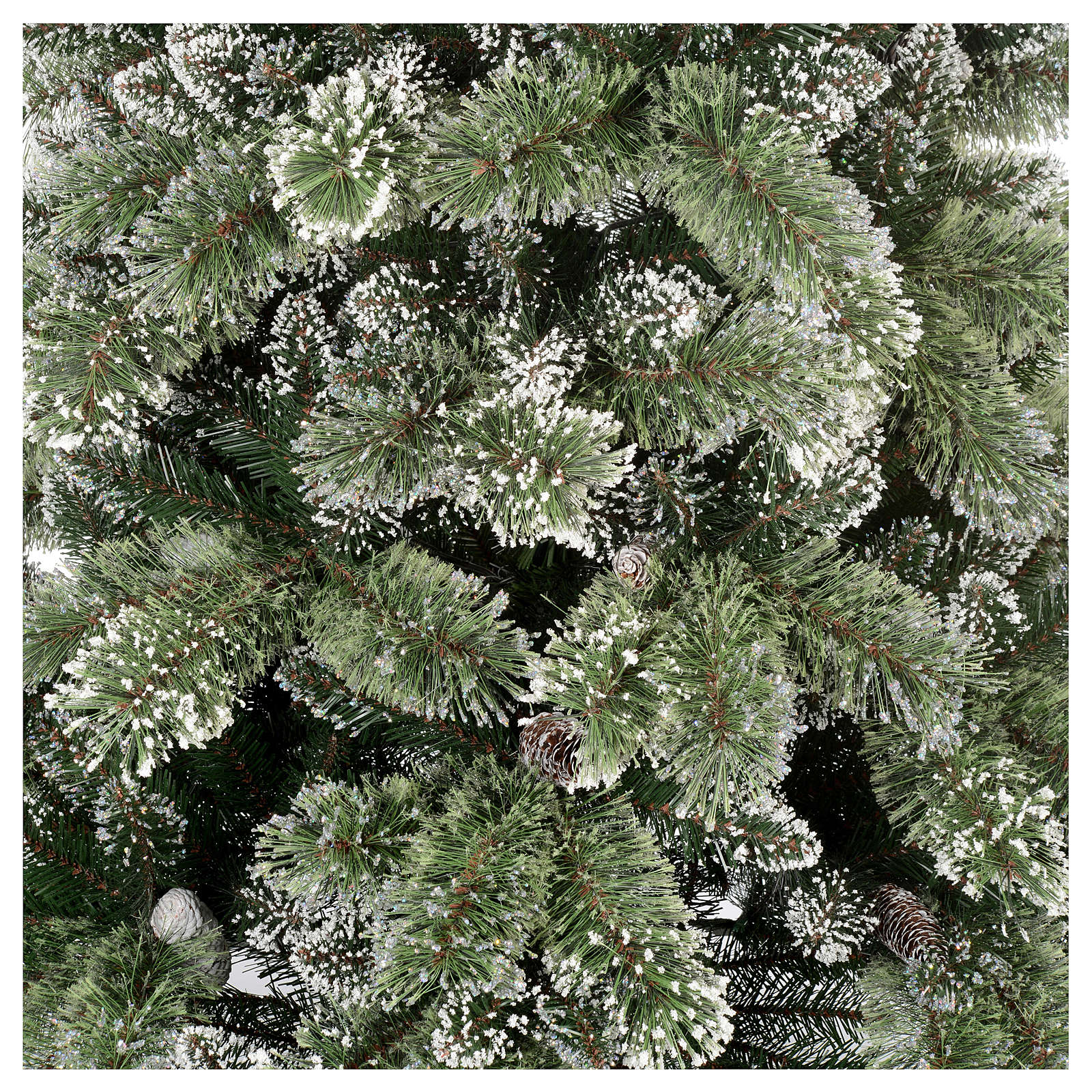 Sapin de Noël 225 cm vert avec glitter et pommes pin Bristle 3