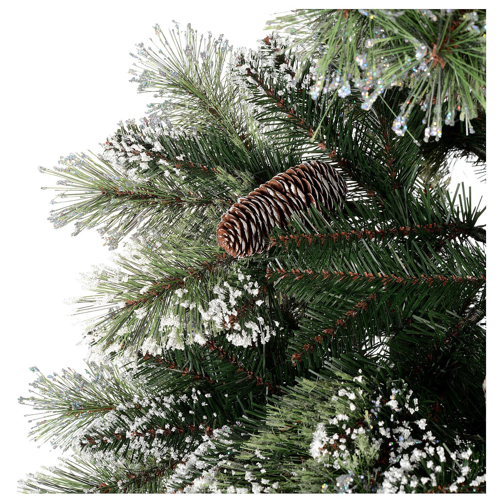 Immagini Natale Glitter.Albero Di Natale 225 Cm Verde Con Glitter E Pigne Bristle