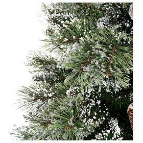Albero di Natale 225 cm verde con glitter e pigne Bristle s5