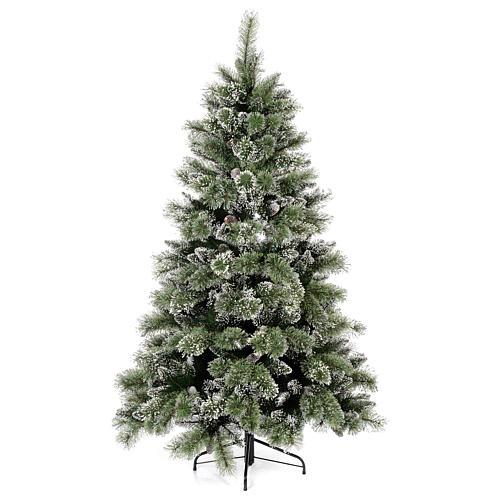 Albero di Natale 225 cm verde con glitter e pigne Bristle 1