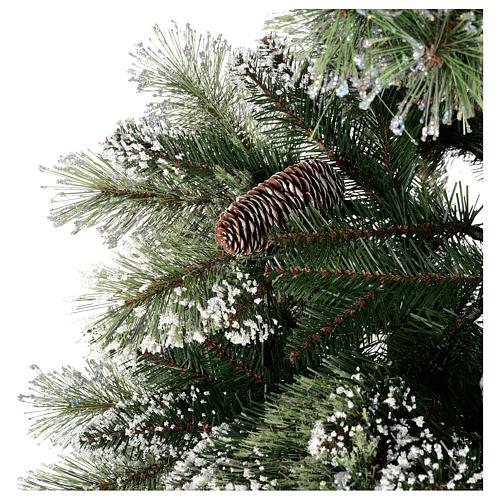 Albero di Natale 225 cm verde con glitter e pigne Bristle 2