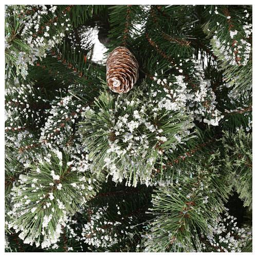 Albero di Natale 225 cm verde con glitter e pigne Bristle 4