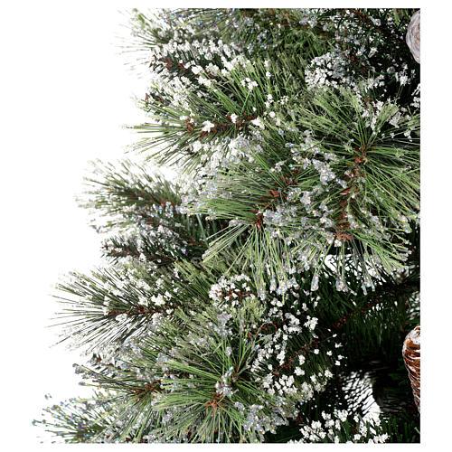 Albero di Natale 225 cm verde con glitter e pigne Bristle 5