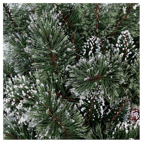 Albero di Natale 225 cm verde con glitter e pigne Bristle 8