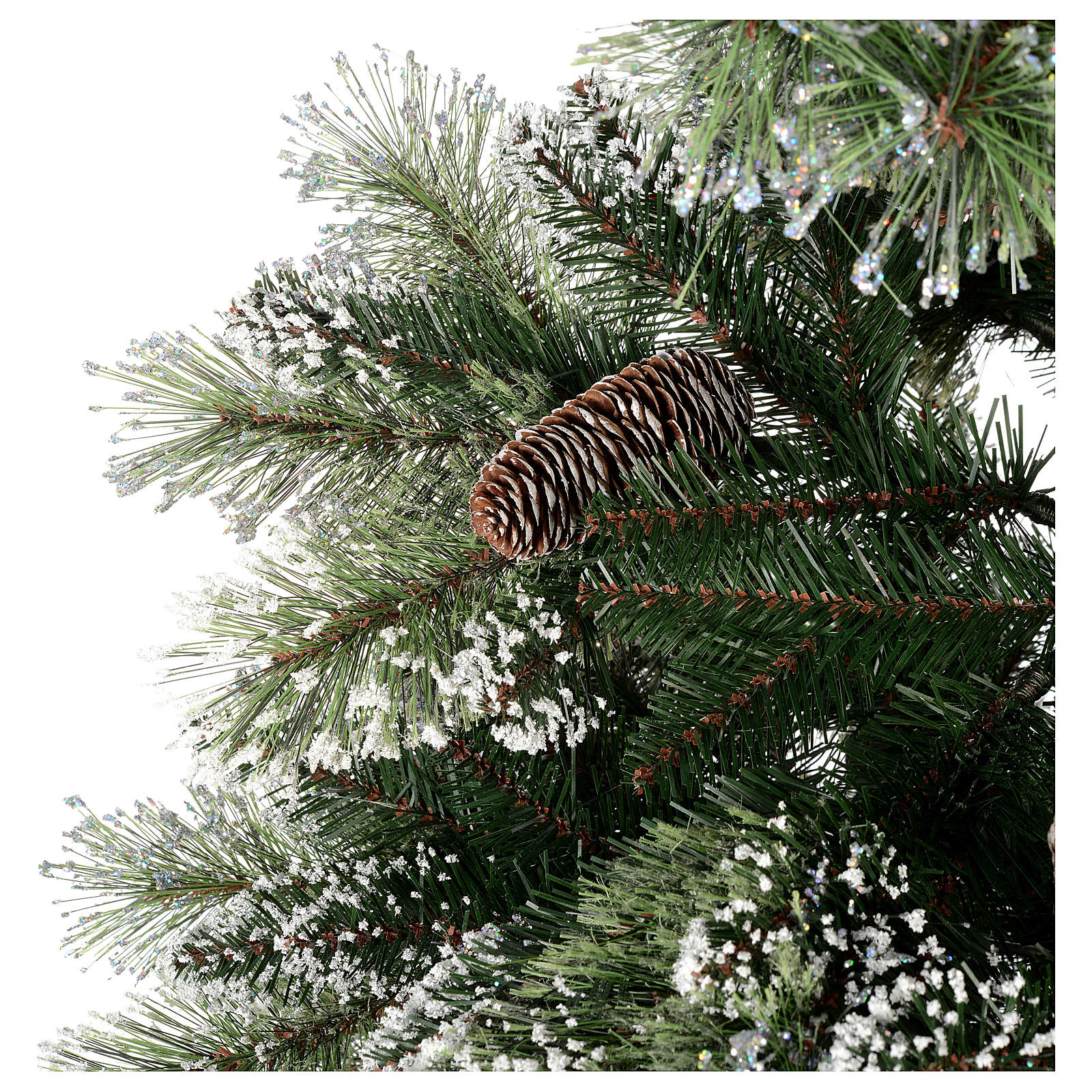 christmas tree 225 cm green with glitter and pine cones bristle 3