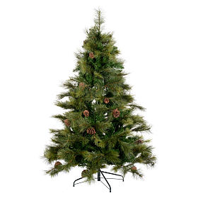 Albero di Natale 210 cm verde con pigne Innsbruck s1