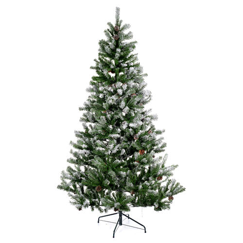Albero di Natale 210 cm floccato pigne Oslo 1