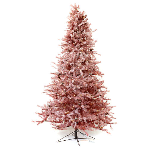 Árbol de Navidad 230 cm color coral escarchado con piñas 400 luces exterior modelo Victorian Burgundy 1