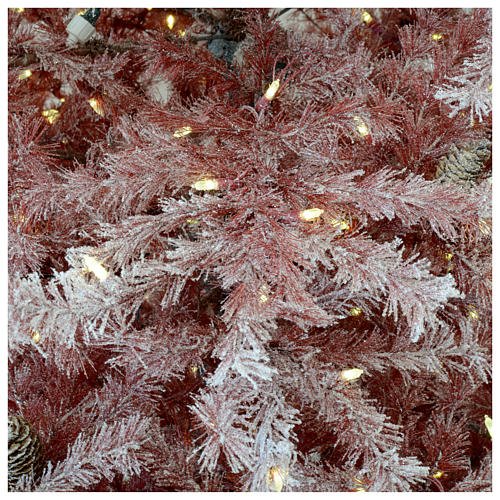 Árbol de Navidad 230 cm color coral escarchado con piñas 400 luces exterior modelo Victorian Burgundy 4