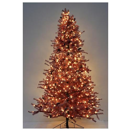 Árbol de Navidad 230 cm color coral escarchado con piñas 400 luces exterior modelo Victorian Burgundy 5
