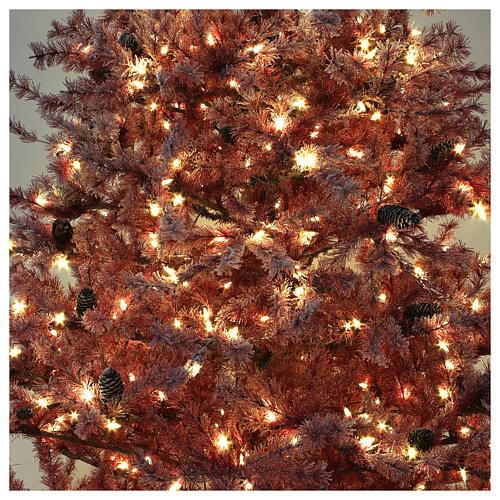 Árbol de Navidad 230 cm color coral escarchado con piñas 400 luces exterior modelo Victorian Burgundy 6