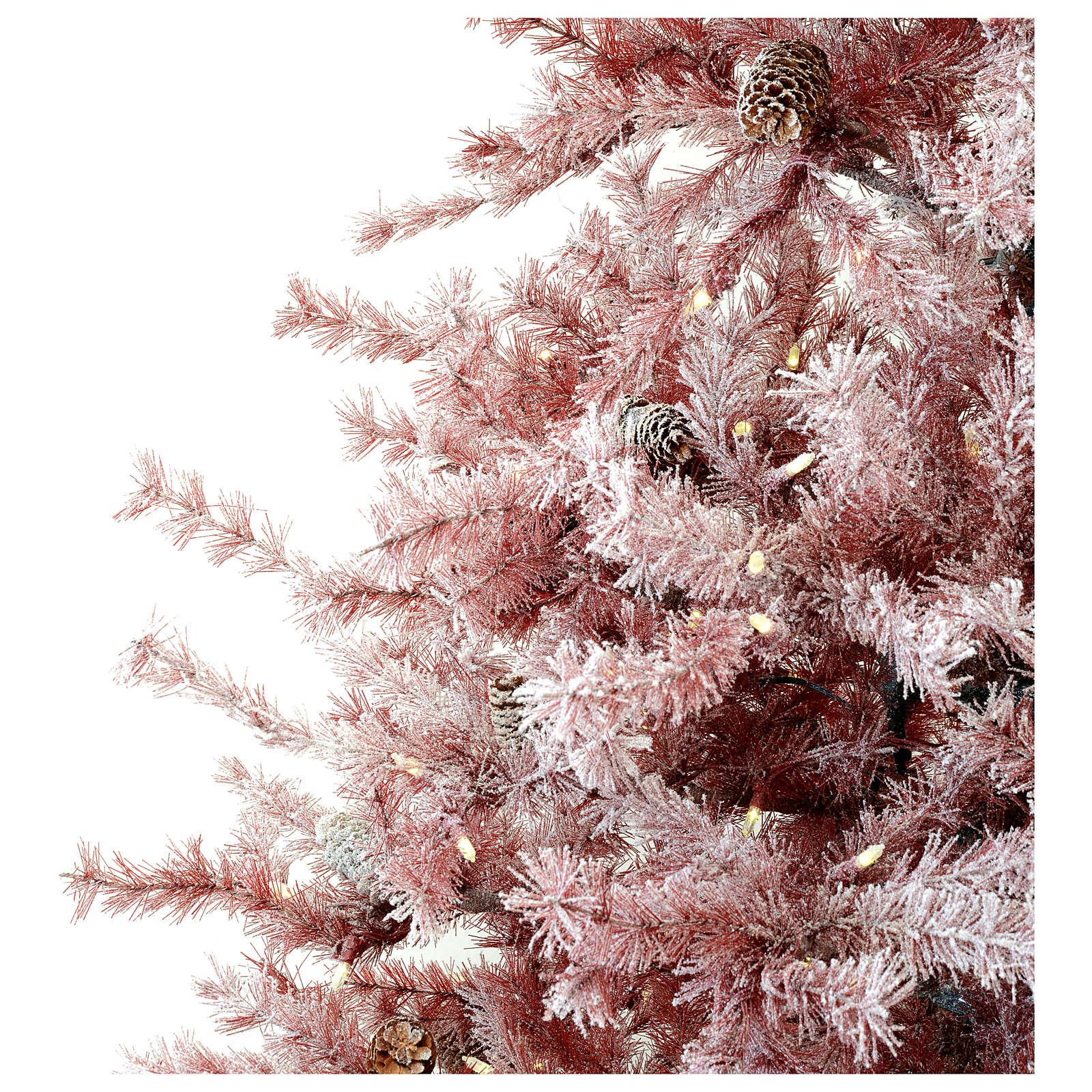 Sapin de Noël 230 cm Victorian Burgundy bordeaux givré et pommes pin 400 lumières extérieur 3