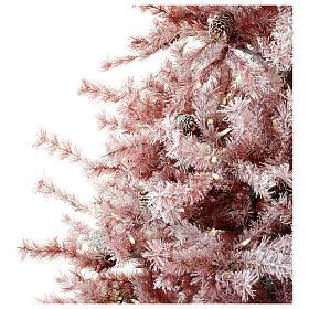 Albero di Natale 230 cm borgogna brinato e pigne 400 luci esterno s3