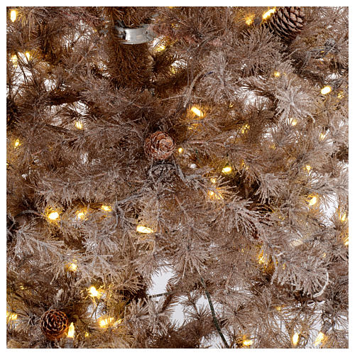 Christmas tree antique brown 200 cm with frost and pines 300 leds 4
