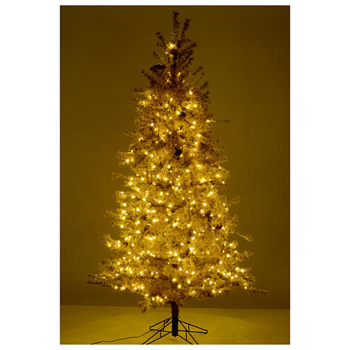 Christmas tree antique brown 200 cm with frost and pines 300 leds 5