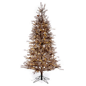 Árbol de Navidad marrón antiguo 200 cm escarchado con piñas y 300 luces LED s1